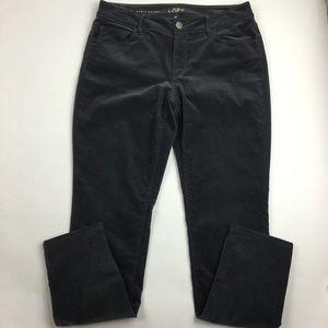 LOFT gray stretch curvy skinny corduroy pants Sz 6